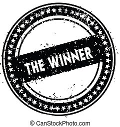 Black THE WINNER distressed rubber stamp with grunge texture.