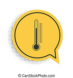 Black Thermometer icon isolated on white background. Yellow speech bubble symbol. Vector