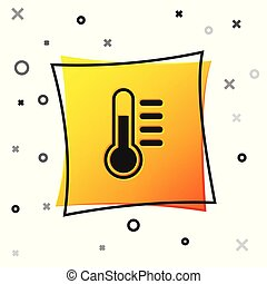 Black Thermometer icon isolated on white background. Yellow square button. Vector Illustration