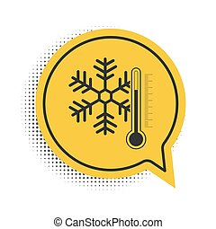 Black Thermometer with snowflake icon isolated on white background. Yellow speech bubble symbol. Vector