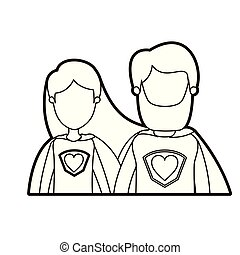 black thick contour caricature faceless half body couple female and male super hero with heart symbol in uniform