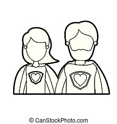 black thick contour caricature faceless half body couple parents super hero with heart symbol in uniform