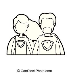 black thick contour caricature faceless half body couple super hero with heart symbol in uniform