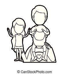 black thick contour caricature faceless half body super dad hero with girl on his hand and boy on his back
