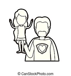 black thick contour caricature faceless half body super dad hero with girl on his hand