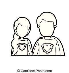black thick contour caricature faceless half body young couple female and male super hero with heart symbol in uniform