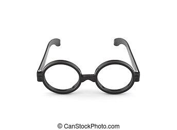 Black thick glasses on white background