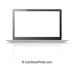 Black thin laptop with clipping path and white screen isolated on a white background