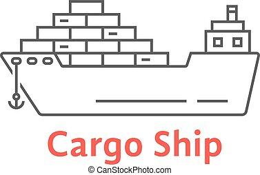 black thin line cargo ship icon