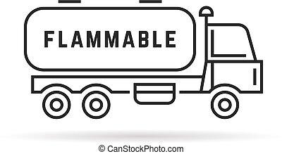 black thin line oil tanker. concept of distribution, large...