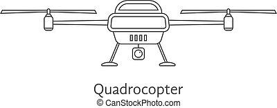 black thin line quadrocopter. concept of gadget, commerce,...