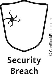 black thin line security breach like shield. concept of ...