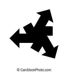 Black three arrows out center icon.