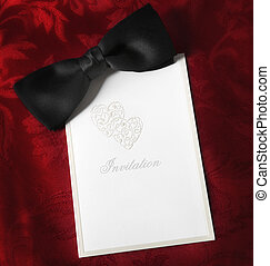 Black Tie Invitation - Invitation, with black bow tie over...