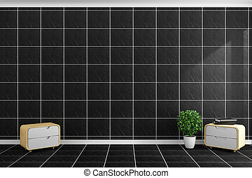 Black tiles modern style on black tiles wall and floor design. 3D rendering