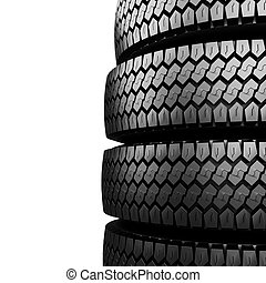 Black tire rubber. - Black tire rubber isolated on white,...