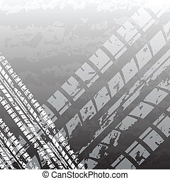 Black tire track - White and black tire track background