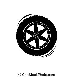 Black tire wheel silhouette