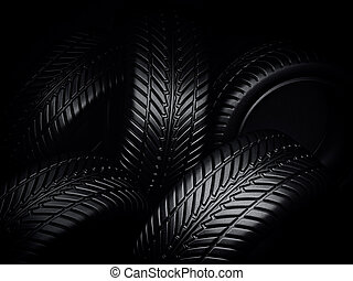 tires - black tires isolated on a black. 3d illustration