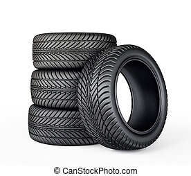 tires - black tires isolated on a white. 3d illustration