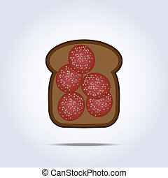 Black toaste with salami icon