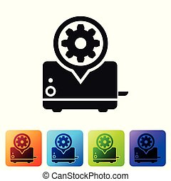 Black Toaster and gear icon isolated on white background. Adjusting app, service concept, setting options, maintenance, repair, fixing. Set icon in color square buttons. Vector Illustration