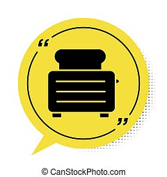 Black Toaster with toasts icon isolated on white background. Yellow speech bubble symbol. Vector Illustration