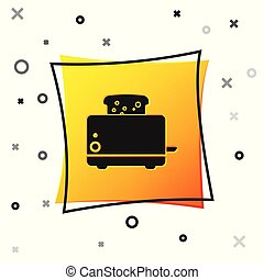 Black Toaster with toasts icon isolated on white background. Yellow square button. Vector Illustration
