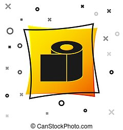 Black Toilet paper roll icon isolated on white background. Yellow square button. Vector Illustration