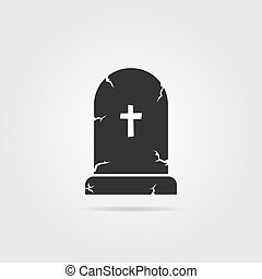 black tombstone with shadow. concept of affliction, fatal,...