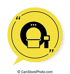 Black Tomography icon isolated on white background. Medical scanner, radiation. Diagnosis, radiology, magnetic resonance therapy. Yellow speech bubble symbol. Vector Illustration