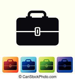 Black Toolbox icon isolated on white background. Tool box sign. Set icon in color square buttons. Vector Illustration