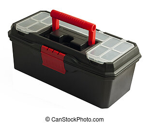 Black toolbox on white background - Black plastic toolbox on...