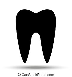 Black tooth silhouette on a white background isolated.