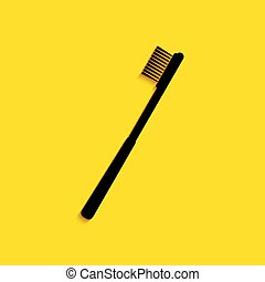 Black Toothbrush icon isolated on yellow background. Long shadow style. Vector