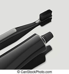 Black toothpaste tube and black toothbrush on white background, 3d rendering