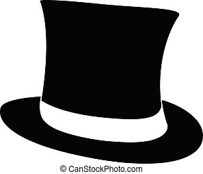 Black top hat. Gentleman cylinder hat illustration.