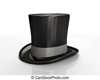 Black top hat isolated on white background 3D