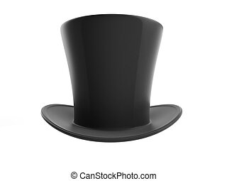 Black top hat on white background