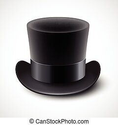 Black top hat vector illustration isolated on white...