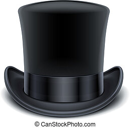 black top hat vector illustration isolated on white background EPS10. Transparent objects and opacity masks used for shadows and lights drawing
