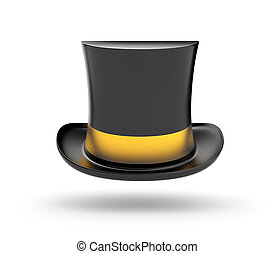 Black Top hat with gold stripe hovering in the air on white...