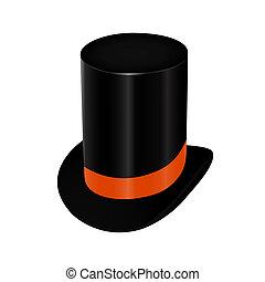 Black top hat with orange ribbon