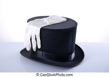 Black top hat with silk white gloves