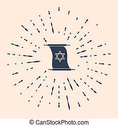 Black Torah scroll icon on beige background. Jewish Torah in...