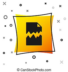 Black Torn document icon isolated on white background. Yellow square button. Vector