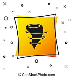 Black Tornado icon isolated on white background. Yellow square button. Vector Illustration