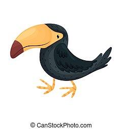 Black toucan. Vector illustration on white background.