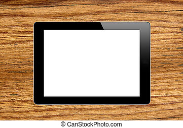 Black Touch Screen Tablet on wooden texture close-up