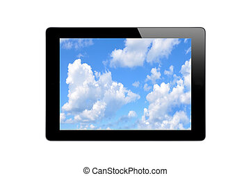 Black Touch Screen Tablet with Blue Sky